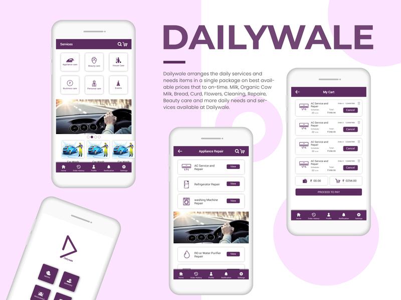Dailywale app ux ui design branding icon logo illustration