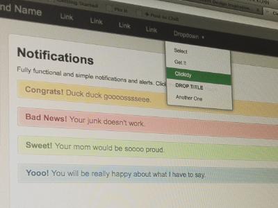 UI Scaffolding user interface notifications css utilities