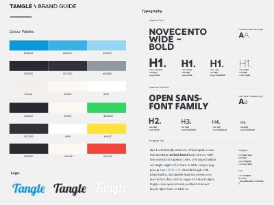 Tangle Brand Guide branding colour palette type