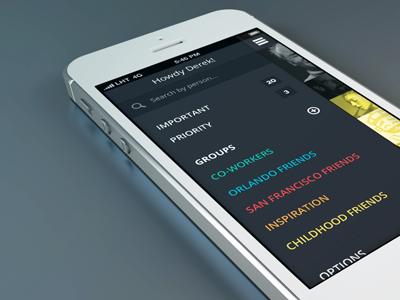 Grouping iOS Sidebar mobile sidebar nav ios