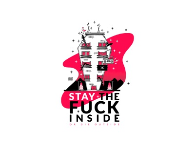 STAY IN, STAY SAFE! sticker vector stickers questioneverything punk illustration punkrock design