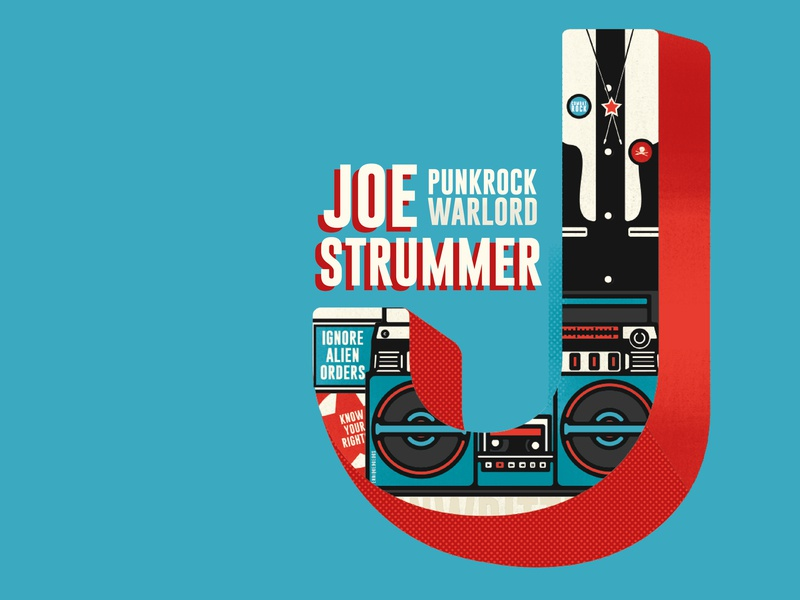 J Is For Joe Strummer type type art joestrummer the clash typography theclash questioneverything punk illustration punkrock design