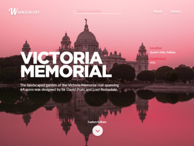 Daily UI 003 - Landing Page (above the fold) landing page victorial memorial kolkata 003 dailyui