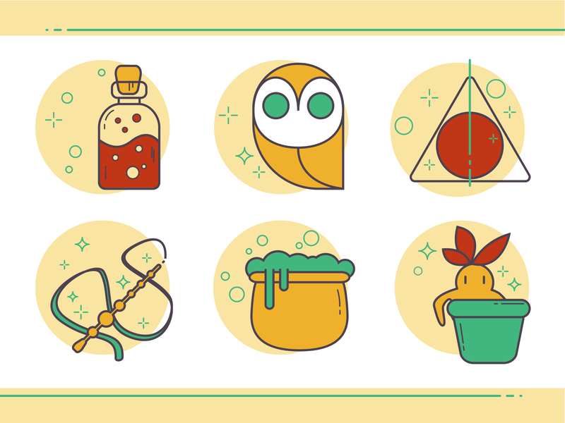 wizard icon outline icon set potter vector fanart