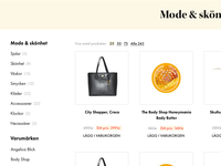 E-commerce product spot and category list