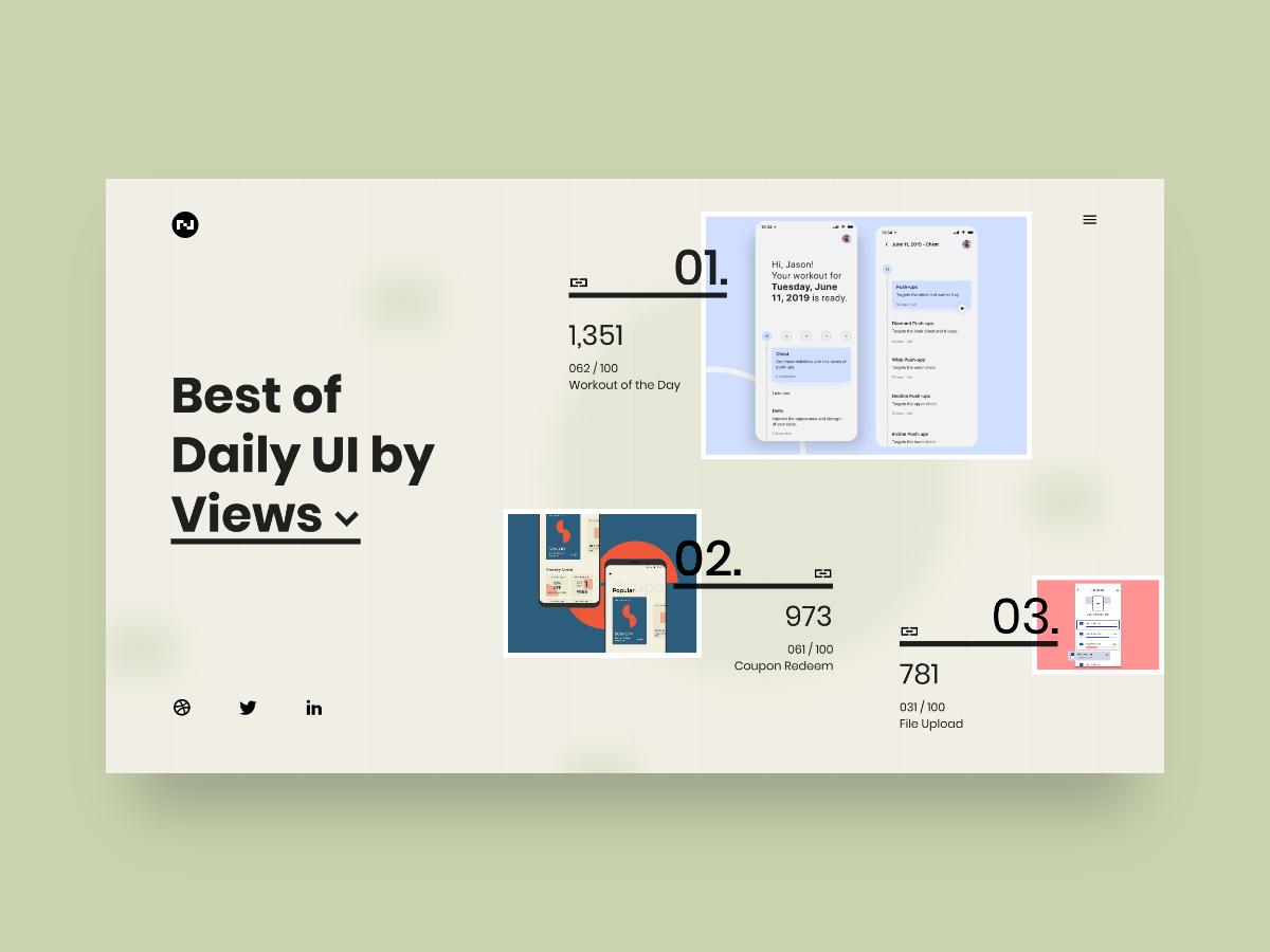Daily UI 063 - Best Of typography website landing web design ui clean best of 063 grid layout minimal challenge daily ui