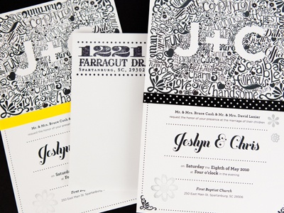 Jeslyn and Chris Wedding Invite stamp illustration lettering typography ink scan invitation hand lettering wedding invitation foil stamp