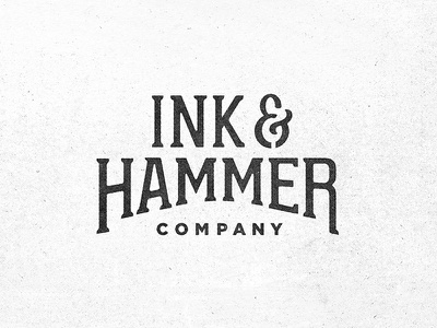 Ink and Hammer Company  hipster wordmark branding logo typography