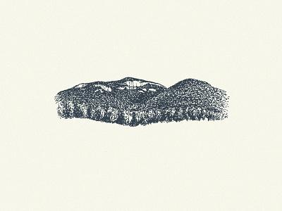 Table Rock S.C. letterpress drawing rock mountains trees ink pen illustration