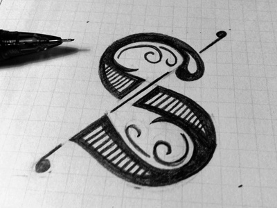 Fancy S s letter type lettering pencil capital