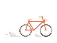 Orange bicycle.