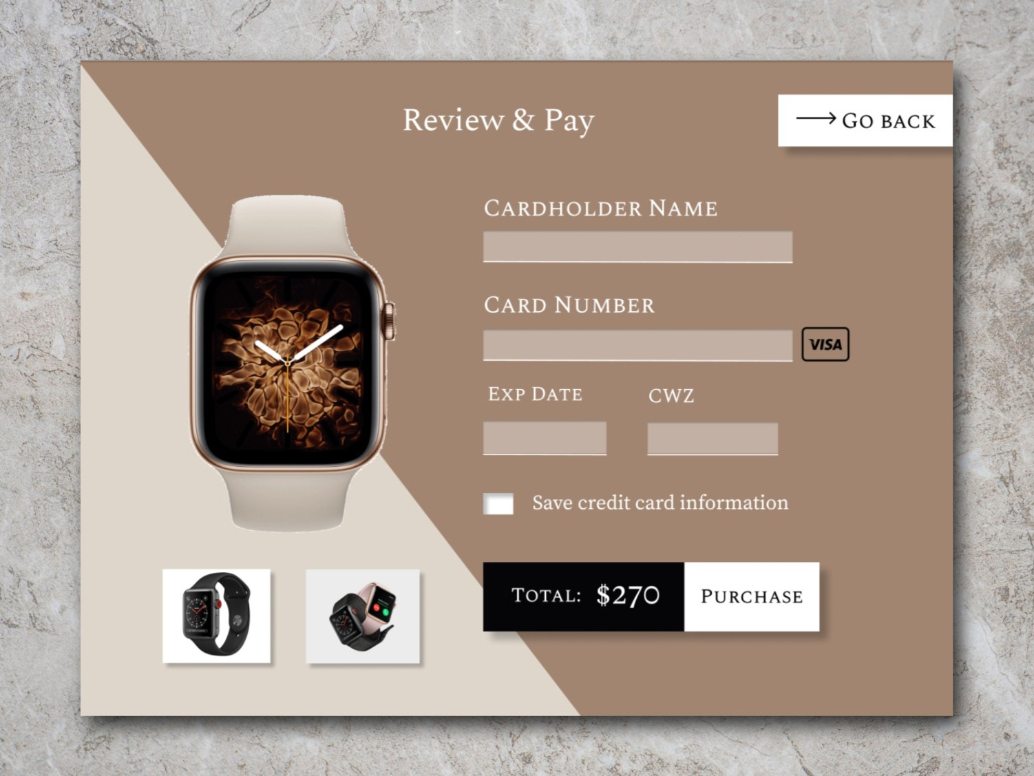 Classic Watch Payment Modal checkout watch white beige simple clean website ui design