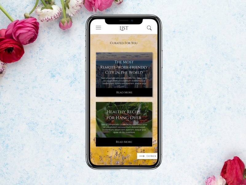 Blog Feed UI Element typography iphone black app branding mobile web landing page white signup clean website simple design ui