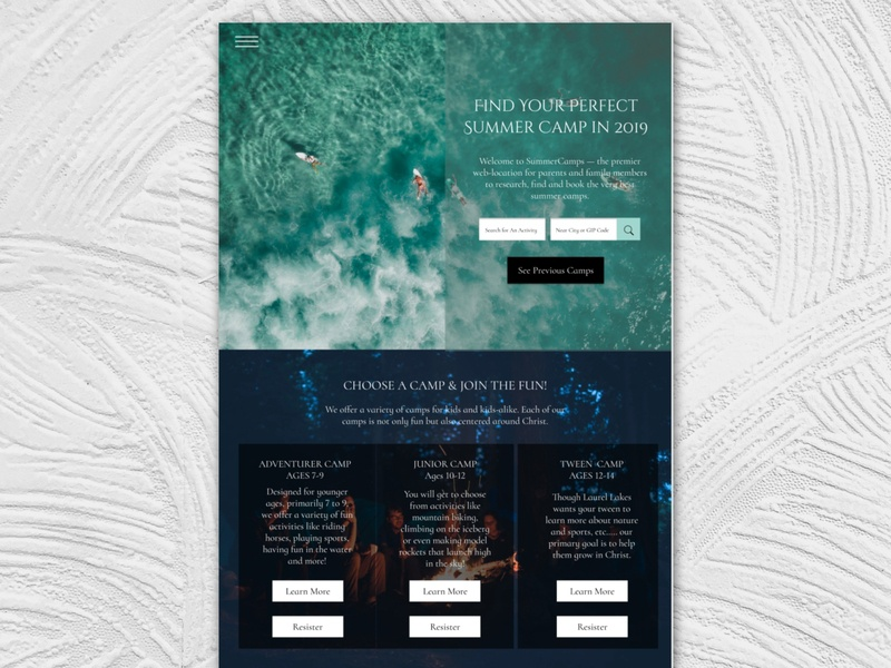 Summer Camp Website branding landing page white clean website design simple ui