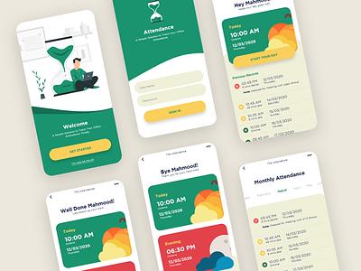 Attendance Mobile App uidesign corporate officetime attendanceapp attendanceapp officehour attendance illustration design app