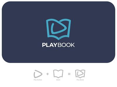 Play Book Logo Concept creativeschool musicalschool simplelogo playbook play button book logo design icon branding illustration