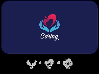 Caring Logo Concept lovecraft lovelogo charitylogo donationlogo caring motherlove hand heart logo caringlogo minimal design illustration branding logo
