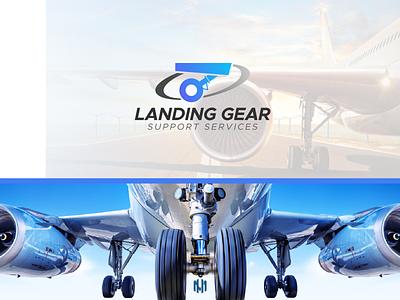 Landing Gear Support Services Logo Design pictoriallogo airlineslogo aircraftlogo landinggearlogo typography icon vector logo branding illustration design