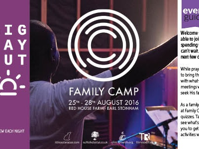 Family Camp 2016 Programme Cover indesign artwork guide programme
