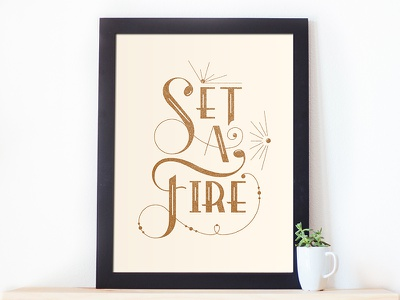 Set A Fire  typography vintage music hand done draw curve antique