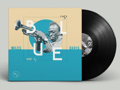 Kind Of Blue typography vintage music modern jazz improvization