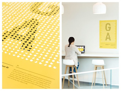 Power BI GA layout typography black yellow data piechart swiss poster