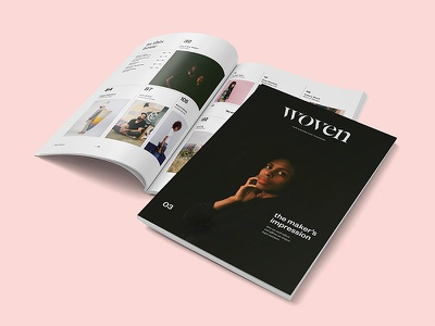 Woven Issue 03 craft colorful stencil type cover design columns big type grid photography editorial typography layout magazine