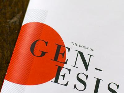 Genesis book modern typography swiss editorial