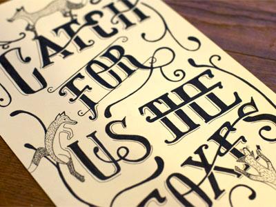 Catch For Us Poster vintage hand-done typography illustration swash poster script