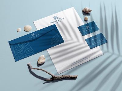 Mauna Key Beach House ocean life identity design blue and white blue shells ocean logo sea ocean hotel branding logo logo design brand identity boutique hotel branding branding and identity