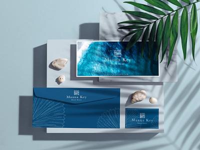 Mauna Key Beach House shells logo design stationary design sea concept minimal boutique hotel brand identity hotel branding branding blue and white blue ocean logo ocean clean design clean