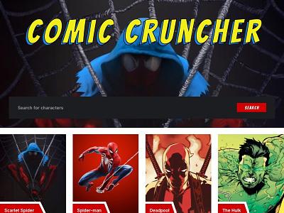 Unused Comic Cruncher Homepage sideproject branding comic book appearances comics design