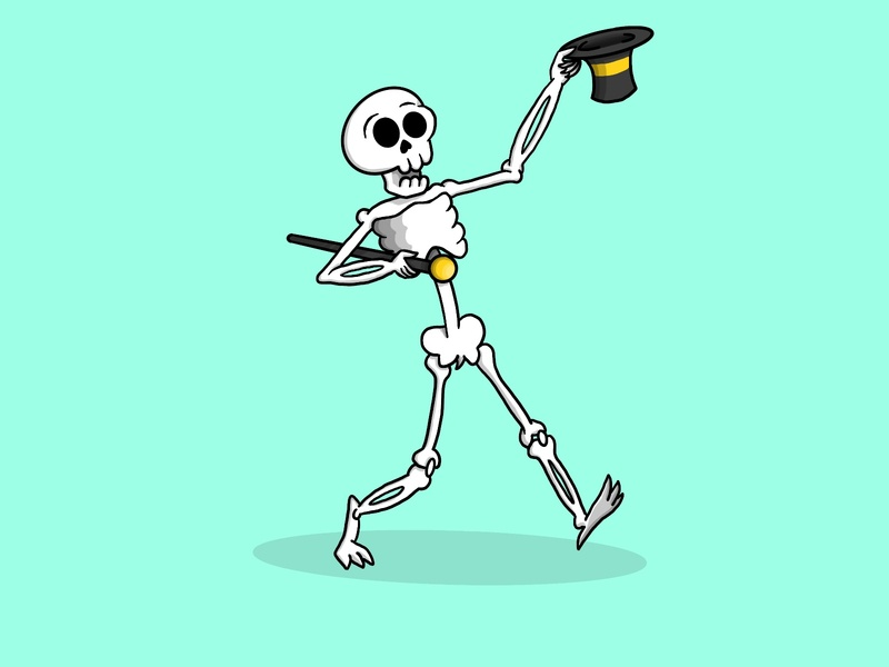 Top o' the mornin'! procreate fancy pants fancy top hat skeleton cartoon