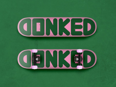DONKED pink green typography brand skateboard