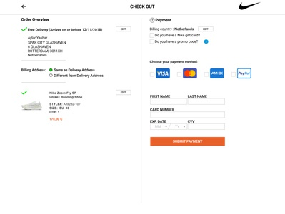 new styles 3f4dd 22a0c Redesign Nike s checkout form checkout page checkout form ui redesign  ux-design ui-design