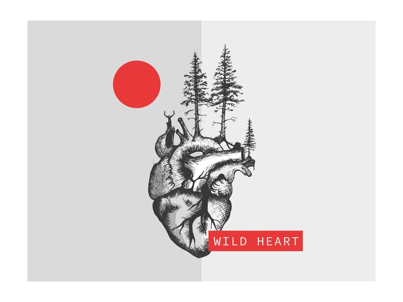 WILD HEART weekly warm-up deer handmade hand drawn wild heart nature czech ui illustrator illustration vector clean design