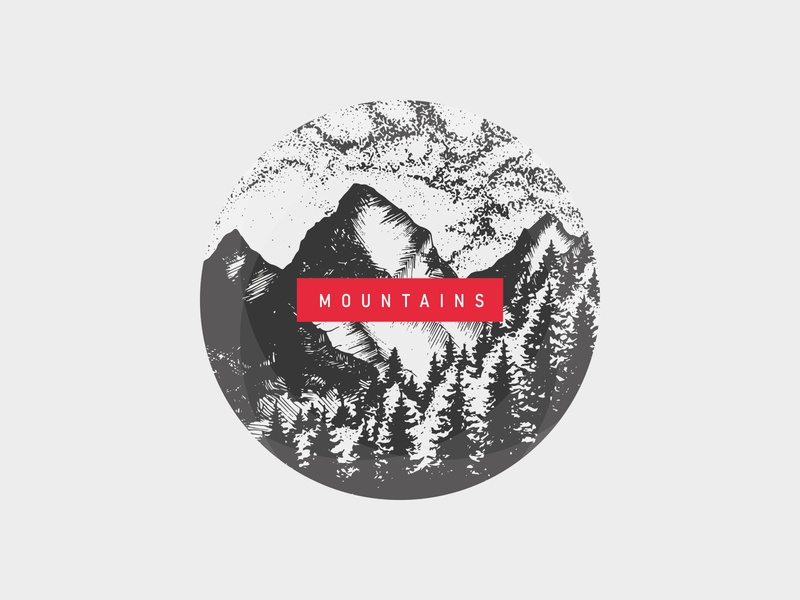 MOUNTAINS handmade drawing natural mountains typography nature web ui czech illustrator illustration minimal clean design