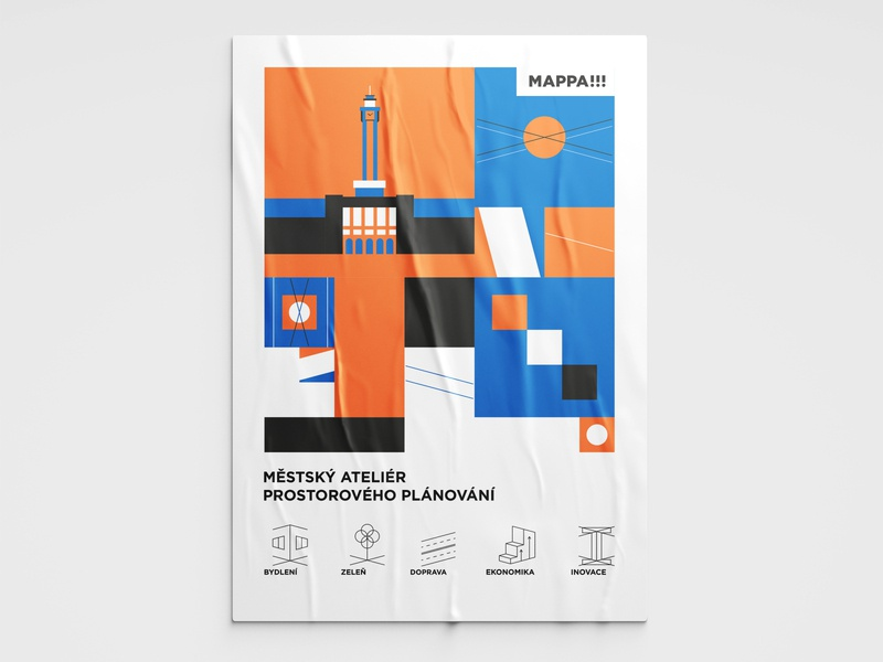 Poster for architect project space ostrava city typography czech ui illustrator illustration flat vector minimal clean design