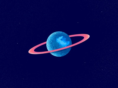 Little planet blue easy drawing universe space panet truegrit brushes photoshop flat illustration minimal clean design