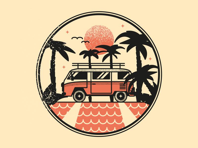 Van nature illustration beach sea palm sunset palms vanlife van car nature web czech ui illustrator vector flat illustration minimal clean design