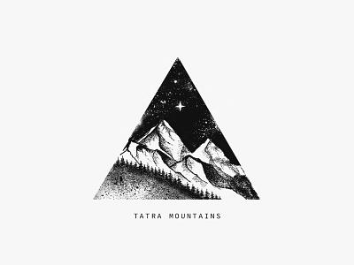 Tatra Mountains nightsky minimal travel moutains nature web czech true grit texture supply photoshop illustrator illustration clean design