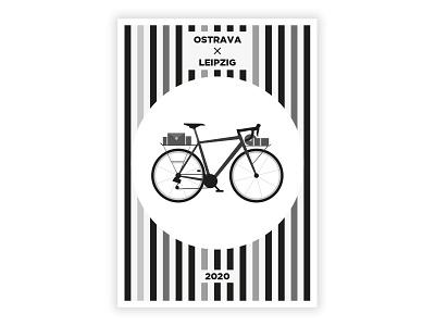 Cycling trip bike ride poster gravelbike bike typography czech ui illustrator vector flat illustration minimal clean design