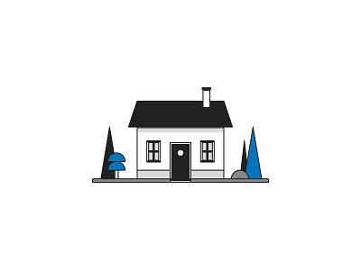 Little house blackandwhite architecture house nature web czech ui illustrator vector flat illustration minimal clean design