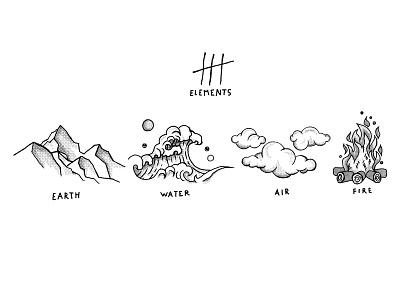 4 elements cartoon drawing fire air earth water 4elements elements photoshop illustrator vector flat illustration minimal clean design