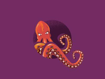 Octopus illustration truegrittexturesupply poster texture czech clean octopus nature photoshop illustrator vector flat illustration minimal design