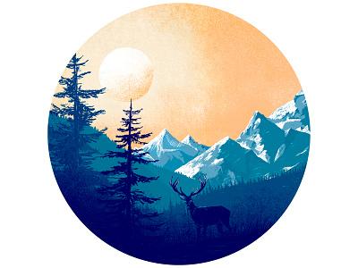 Mountains illustration winter deer mountains nature photoshop vector illustration minimal clean design