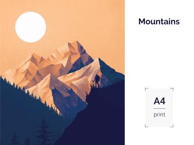 Mountains illustration A4 print nature illustration forest sunset nature mountains photoshop art photoshop illustrator illustration minimal clean design