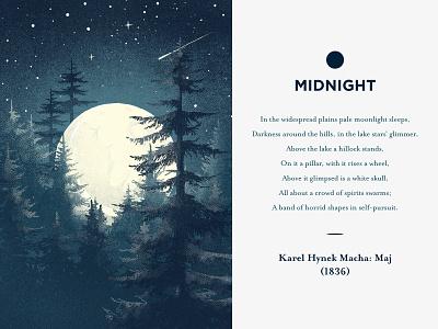 Midnight - let it glow! moon logo forest nature midnight czech ui illustrator vector flat illustration minimal clean design