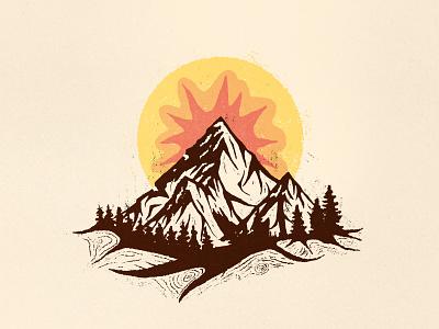 Mountains illustration old forest rock nature sun mountains truegrittexturesupply photoshop illustrator vector flat illustration minimal clean design