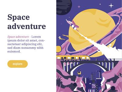 Space adventure illustration colors trip train bridge planet universe space poster illustrator vector flat illustration minimal clean design